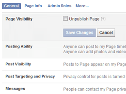 Facebook Page UnPublish Box