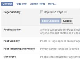 Facebook Page UnPublish Box