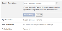 Facebook Page Country restrictions