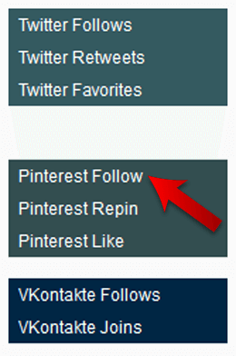 Select the Pinterest Follows feature