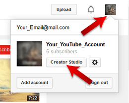 Click On the Creator Studio Button