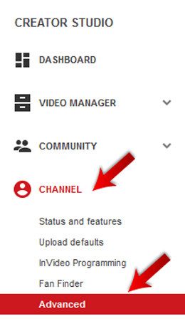 Click on Channel and then Advanced option