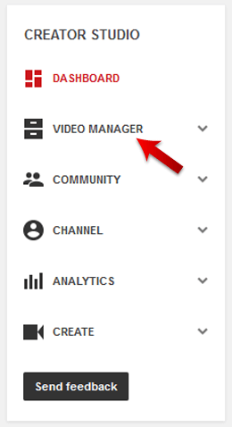Click on the Video Manager Option